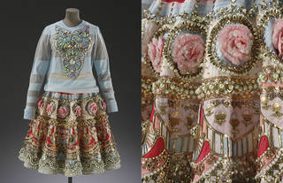 Skirt and top ensemble, applique, embroidery and heavy embellishment with crystal beads and sequins, designed by Manish Arora, made by Three Clothing Company, 2014 – 15, Noida, India. Museum no. IS.60:1 to 3-2016. © Victoria and Albert Museum, London