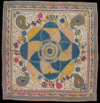 Coverlet, embroidered cotton with quilting, makers unknown, early 20th century, Bangladesh. Museum no. IS.61-1981. © Victoria and Albert Museum, London