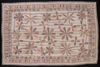 Coverlet, embroidered and quilted cotton, makers unknown, early 20th century, Bengal. Museum no. IS.62-1981. © Victoria and Albert Museum, London