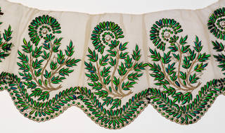 Textile, embroidered plain-woven muslin with beetle wings and couched gold wire, makers unknown, 19th century, India. Museum no. IS.468-1992. © Victoria and Albert Museum, London