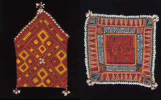 Left to right: Banjara bag, embroidered with cotton and cowrie shells, makers unknown, 20th century, Karnataka, India. Museum no. IS.474-1993. © Victoria and Albert Museum, London; Rumal (coverlet), cotton appliqued and embroidered with silk and cowrie shells, makers unknown, 20th century, Khandesh, India. Museum no. IS.476-1993. © Victoria and Albert Museum, London