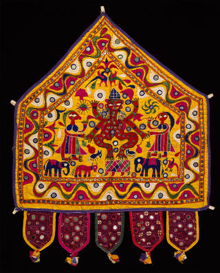 Wall hanging, cotton embroidered with floss silk, sequins and mirror-glass, makers unknown, mid-20th century, Gujarat, India. Museum no. IS.18-1967. © Victoria and Albert Museum, London. Given by R. W. Skelton