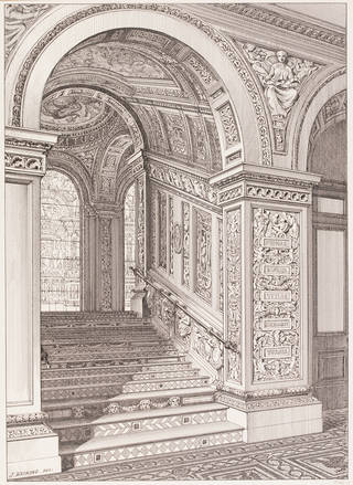 Drawing of the West (Ceramic) Staircase, John R.E. Watkins, about 1876, England. Museum no. 8089F. © Victoria and Albert Museum, London