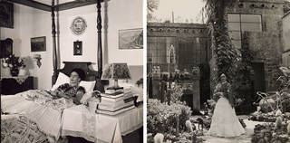 Left: Frida Kahlo in her bed, by Gisèle Freund, 1952, Mexico. Victoria and Albert Museum, London. Right: Frida Kahlo in her garden, by Gisèle Freund, 1952, Mexico. Victoria and Albert Museum, London