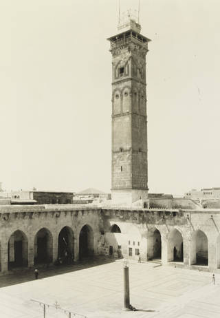The minaret of the Great Mosque of Aleppo or the Umayyad mosque, built in 1090. The minaret was destroyed in April 2013 during the Syrian war.