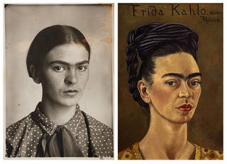 Left: Frida, by Guillermo Kahlo, about 1926, Coyoacán, Mexico. © Frida Kahlo & Diego Rivera Archives. Bank of Mexico, Fiduciary in the Diego Rivera and Frida Kahlo Museum Trust. Right: Self-Portrait MCMXLI, Frida Kahlo, 1941, Mexico. © 2018 Banco de México Diego Rivera & Frida Kahlo Museums Trust. Image courtesy of The Jacques and Natasha Gelman collection. Reproduction authorised by INBA 2018