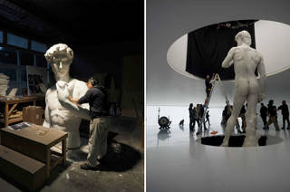 (left) Sculptor working on the body pieces of David (right) final model of the statue in position on the set of Alien: Covenant, 2017. Image courtesy of the 20th Century Fox