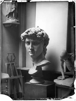 Negative of a cast of the head of Michelangelo's David, Accademia di Belle Arte, Florence, 1881. Museum no. 80552. © Victoria and Albert Museum, London