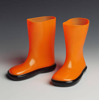 Photo of Children's waterproof boots, designed by Globoot Footwear, manufactured by Plastic Coatings Ltd., 20th century, UK. Museum no. CIRC.252&A-1971. © Victoria and Albert Museum, London