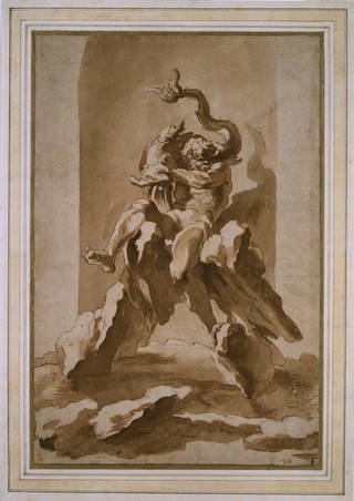 A design for a fountain of Neptune for the Ducal palace at Sassuolo, Italy, Gianlorenzo Bernini, about 1652, Rome. Museum no. CAI.416. © Victoria and Albert Museum, London