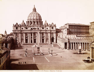 Photograph of St Peter's Basilica and Piazza, Vatican City, unknown maker. Museum no. 769-1944. © Victoria and Albert Museum, London