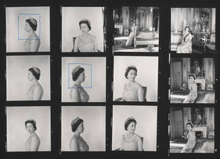 Contact sheet of Queen Elizabeth II, Cecil Beaton, 1968, England. Museum no. PH.2013-1987. © Victoria and Albert Museum, London