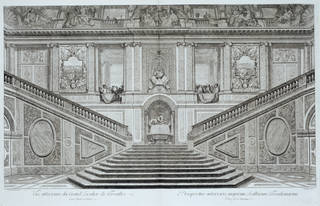 View of the Staircase of the Ambassadors, Louis de Surugue de Sergis after a drawing by Jean Michel Chevotet, about 1720, France. Museum no. E.93-1901. © Victoria and Albert Museum, London