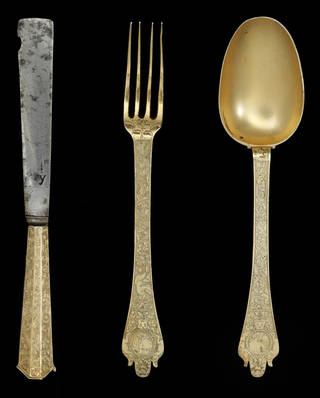Knife, fork and spoon set, 1670 – 75, England. Museum no. M.325-1962. © Victoria and Albert Museum, London