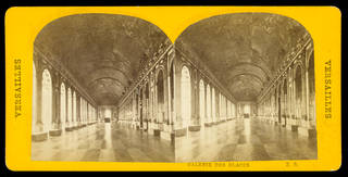 Stereograph of the Palais des Versailles, an interior view of the 'Galerie des Glaces' (Hall of Mirrors), unknown maker, late 19th century, France. Museum no. E.1523-1992. © Victoria and Albert Museum, London