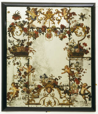 Painted mirror, probably by Antoine Monnoyer, 1710 – 20, England. Museum no. W.36:1-3-1934. © Victoria and Albert Museum, London