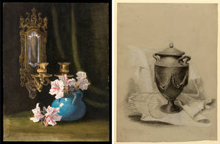 (Left to right:) Still life study of a blue vase with pink and white pelargoniums and double wall sconce, by Beatrix Potter, May 1883, watercolour on paper. Museum no. AR.4:381-2006. © Victoria & Albert Museum, London, courtesy Frederick Warne & Co Ltd. and The Trustees of the Linder Collection; Still life drawing (probably an exercise in perspective for the Art Student's Certificate), by Beatrix Potter, December 1879, chalk and pencil. Linder Collection cat. no. LC 1/B/1. © Victoria & Albert Museum, London, courtesy Frederick Warne & Co Ltd. and The Trustees of the Linder Collection