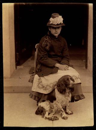 Beatrix Potter with her dog, Spot, at Dalguise, Rupert Potter, 1880, albumen photograph. Museum no. BP.870, Linder Bequest cat. no. LB 2083. © Victoria and Albert Museum, London