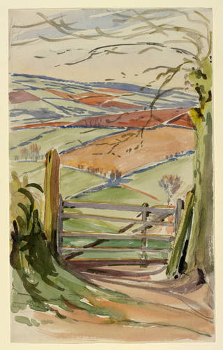 Landscape with gate and fields, background study for The Tale of Little Pig Robinson (1930), by Beatrix Potter, possibly 1904, watercolour over pencil. Linder Collection cat. no. LC 31/A/1. © Victoria and Albert Museum, London, courtesy Frederick Warne & Co Ltd. and the Trustees of the Linder Collection