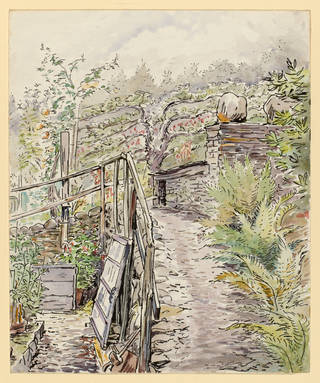 Garden path and stone outhouse, Fawe Park, Cumbria, by Beatrix Potter, probably July – September 1903, watercolour and black ink over pencil. Linder Collection cat. no. LC 24/B/2. © Victoria & Albert Museum, London, courtesy Frederick Warne & Co Ltd. and The Trustees of the Linder Collection