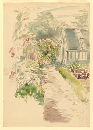 Sketch of the garden at Gwaynynog, by Beatrix Potter, probably March 1909, watercolour over pencil. Linder Collection cat. no. LC 27/B/4. © Victoria & Albert Museum, London, courtesy Frederick Warne & Co Ltd. and The Trustees of the Linder Collection