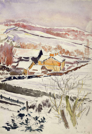 Scene of a farm in snow, near Sawrey, Lake District, by Beatrix Potter, March 1909, watercolour over pencil. Museum no. BP.965(ii), Linder Bequest cat. no. LB 673. © Image courtesy Frederick Warne & Co Ltd.