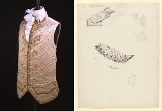 (Left to right:) Waistcoat, maker unknown, cream satin embroidered with coloured silk, 1770. Museum no. 652A-1898. © Victoria and Albert Museum, London; Studies for the Mayor's waistcoat, by Beatrix Potter, 1903, watercolour over pencil. Linder Collection cat. no. LC 9/A/2. © Victoria & Albert Museum, London, courtesy Frederick Warne & Co Ltd. and The Trustees of the Linder Collection