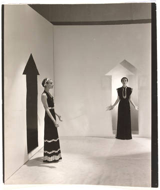 Photo of Schiaparelli evening dresses, photograph by Cecil Beaton for French Vogue, published 1936, France. Museum no. 193-1977. © Victoria and Albert Museum, London