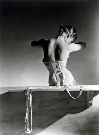 Photo of Mainbocher Corset (pink satin corset by Detolle), Horst P. Horst, Paris, 1939. © Condé Nast/Horst Estate
