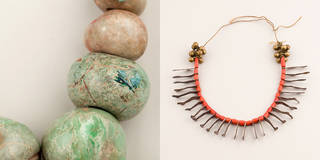 Left to right: Detail of irregular pre-Columbian jade beads showing paint flecks, probably excavated from a Maya site and possibly assembled by Frida Kahlo; Necklace of coral beads with metal milagros (votive charms) in the form of legs, Mexico, probably early 20th century. Photographs by Javier Hinojosa, Diego Rivera and Frida Kahlo Archives, Banco de México, Fiduciary of the Trust of the Diego Rivera and Frida Kahlo Museums