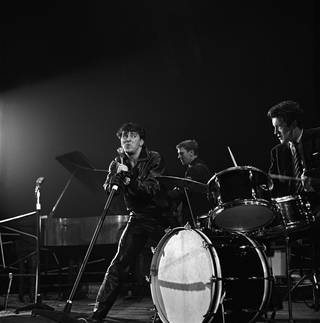 Gene Vincent on stage at Wembley, photograph by Harry Hammond, 1960, England. Museum no. S.16020-2009. © Victoria and Albert Museum, London