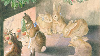 The Rabbits' Christmas Party: Roasting Apples, by Beatrix Potter, about 1892, watercolour and pen and ink on paper. Museum no. BP.1471(c), Linder Bequest cat. no. LB.1005. © Victoria and Albert Museum, London