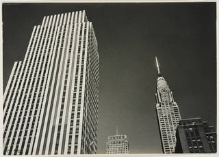 Rockerfeller Center and Chrysler Building Tops, New York, photograph by Ilse Bing, 1936, gelatin silver print. Museum no. E.3029-2004. © Victoria and Albert Museum, London/Estate of Ilse Bing, courtesy Michael Mattis