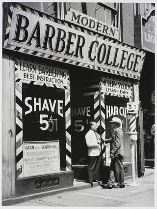 Barber College, New York, photograph by Ilse Bing, photographed 1936, printed after 1936, gelatin silver print. Museum no. E.3042-2004. © Victoria and Albert Museum, London/Estate of Ilse Bing, courtesy Michael Mattis