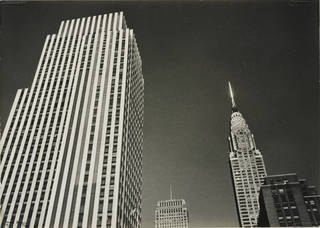 Photo of Rockerfeller Center and Chrysler Building Tops, New York, photograph by Ilse Bing, 1936, gelatin silver print. Museum no. E.3029-2004. © Victoria and Albert Museum, London/Estate of Ilse Bing, courtesy Michael Mattis