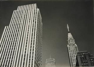 Photo of Rockerfeller Center and Chrysler Building Tops, New York, photograph by Ilse Bing, 1936, gelatin silver print. Museum no. E.3029-2004. © Victoria and Albert Museum, London/Estate of Ilse Bing, courtesy Michael Mattis
