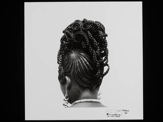 HD-849/75 (Abebe) from the series Hairstyles, photograph by J. D. 'Okhai Ojeikere, 1975, Nigeria. Museum no. E.231-2013. © The Estate of J. D. 'Okhai Ojeikere/ Victoria and Albert Museum, London. Supported by the National Lottery through the Heritage Lottery Fund.