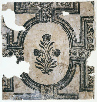 Fragment of wallpaper with a design of strapwork borders enclosing a flower spray motif, unknown maker, late 17th century, England. Museum no. E.464-1993. © Victoria and Albert Museum, London