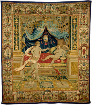 Venus admonishing Cupid, tapestry woven in wool and silk on a wool warp, designed by Giovanni Battista Castello, 1555 – 65, probably Brussels. Museum no. T.770-1950 © Victoria and Albert Museum, London