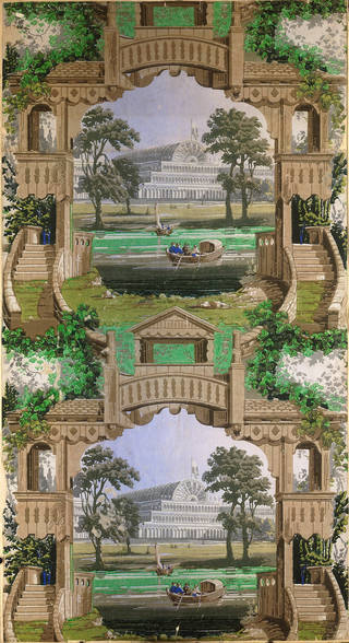 Wallpaper illustrating the Crystal Palace, probably produced by Heywood, Higginbottom & Smith, about 1853 – 55, Manchester. Museum no. E.158-1934. © Victoria and Albert Museum, London