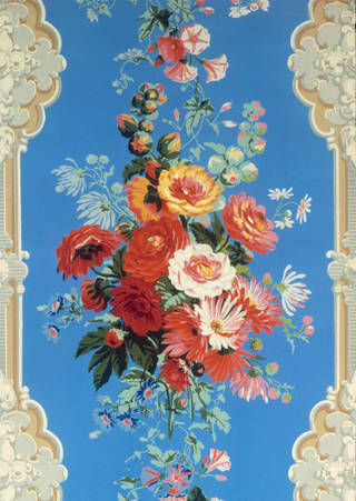 Wallpaper with naturalistic floral stripe framed by Rococo pilaster motifs, maker unknown, about 1850 – 60. Museum no. E.771-1955. © Victoria and Albert Museum, London