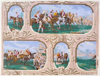 Wallpaper with design of framed horse-racing scenes, probably produced by Heywood, Higginbottom & Smith, about 1870 – 80. Museum no. E.1819-1934. © Victoria and Albert Museum, London