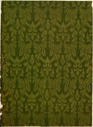 Portion of flock wallpaper, designed by Owen Jones, 1850, England. Museum no. E.164-1934. © Victoria and Albert Museum, London