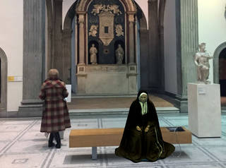 Hololens still of the Poor Clare Nuns in the Santa Chiara Chapel. Courtesy of DoubleMe