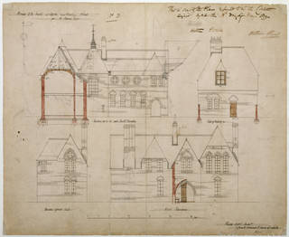 Architectural drawing showing elevations for Red House, designed by Philip Webb for William Morris, 1859, England. Museum no. E.60-1916. © Victoria and Albert Museum, London