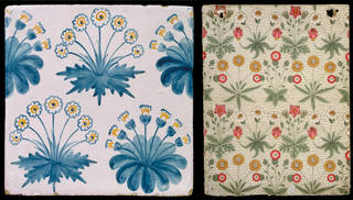 (Left) Daisy, tile, designed by William Morris, about 1862, England. Museum no. C.58-1931. © Victoria and Albert Museum, London; (Right) Daisy, wallpaper pattern, designed by William Morris, about 1864, England. Museum no. E.442-1919. © Victoria and Albert Museum, London