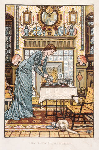 Frontispiece to Clarence Cook's The House Beautiful: Essays on beds and tables, stools and candle sticks, Walter Crane, 1878. Museum no. NAL:47.M.26. © Victoria and Albert Museum, London