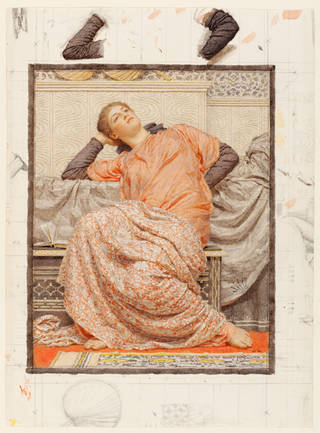 Photo of An Open Book, watercolour, by Albert Moore, about 1884, England. Museum no. 42-1884. © Victoria and Albert Museum, London
