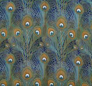 Photo of Peacock Feathers, furnishing fabric, designed by Arthur Silver for Liberty & Co., 1887, England. Museum no. T.50-1953. © Victoria and Albert Museum, London