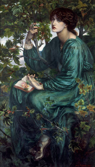Photo of The Day Dream, oil painting, by Dante Gabriel Rossetti, 1880. Museum no. CAI.3. © Victoria and Albert Museum, London